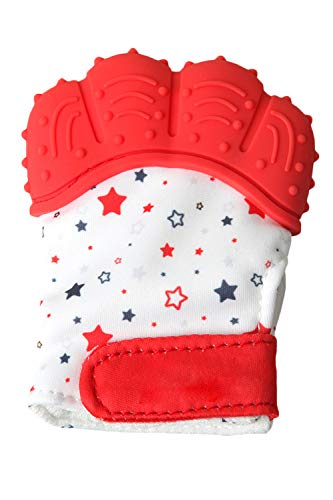 SMTD Boys&Girls Teething Mittens Prevent Scratches Protection Gloves for 3-12 Months Infant Soothing Teething Mitten with Hygienic Travel Bag (1 Pack) Red from SMTD