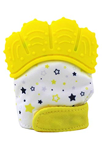 SMTD Boys&Girls Teething Mittens Prevent Scratches Protection Gloves for 3-12 Months Infant Soothing Teething Mitten with Hygienic Travel Bag (1 Pack) Yellow from SMTD