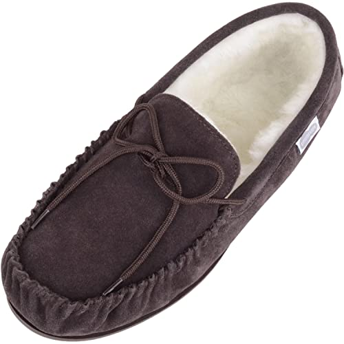SNUGRUGS Mens Suede Lambswool Moccasin Slippers & Rubber Sole, Dark Brown, UK 10 from SNUGRUGS
