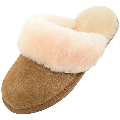 Snugrugs Elsie Sheepskin Mule Slipper with Cuff and Rubber Sole, Brown (Chestnut), 3 UK (35 1/2 EU) from SNUGRUGS