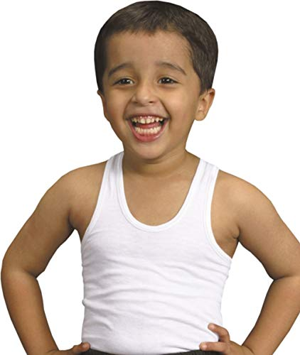 Kids Boys Children White Black Vest Cotton Sleeveless Summer Tank Schoolwear RIBED (4, 7-8 Year) from SOFTY