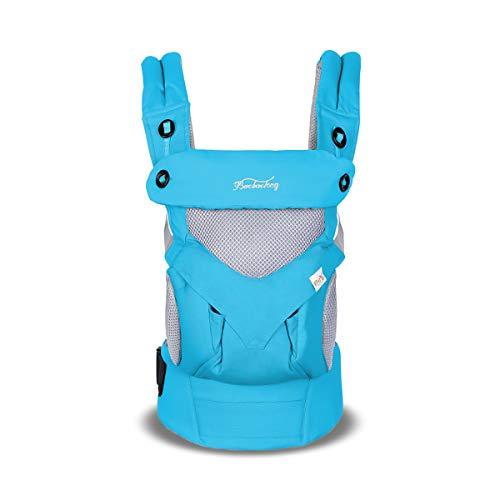 SONARIN 4 in 1 Breathable Baby Carrier,3D Breathable mesh,Sunscreen Hood,Ergonomic,for Newborn to Toddler(3-48 Months),Maximum Load 20kg,Front Facing Baby Carrier,Suitable for Summer(Blue) from SONARIN