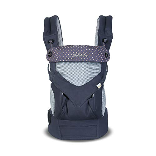 SONARIN 4 in 1 Breathable Baby Carrier,3D Breathable mesh,Sunscreen Hood,Ergonomic,for Newborn to Toddler(3-48 Months),Maximum Load 20kg,Front Facing Baby Carrier,Suitable for Summer(Dark Blue) from SONARIN