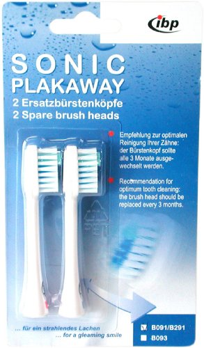 Pack of 2 Sonic Plakaway Spare Toothbrush Heads for B091, B191 duo and B291 from SONIC PLAKAWAY