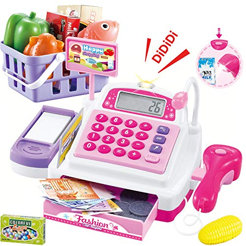 SONiKi Cash Register Pretend Play Supermarket Shop ToysWith Calculator ,Working Scanner,Credit Card ,Play Food ,Money and more Size-25*14*12cm/9.8*5.5*4.7in(Color May Random) from SONiKi