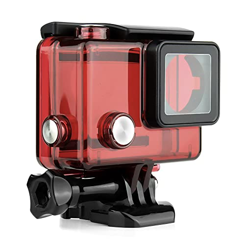SOONSUN Standard Protective Waterproof Dive Housing Case for GoPro Hero 4, 3+, 3, Hero3, Hero4 Black Silver Camera - Up to 40 Meters (131 feet) Underwater -Transparent Red from SOONSUN