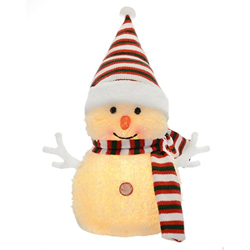 15cm Light Up Snowman Warm White LEDs Stripe Hat & Scarf Christmas Decoration from SPARKLES