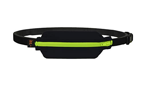 SPIbelt Kids No-Bounce Belt with Hole for Insulin Pump, Medical Devices or Headphones for Active Kids! (Black with Lime Zipper) from SPIbelt