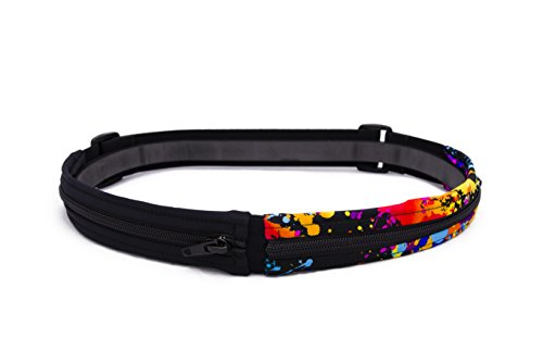SPI Glide Buckle-Less, Adjustable Twin Pocket Running Belt (Black & Rave) from SPIbelt