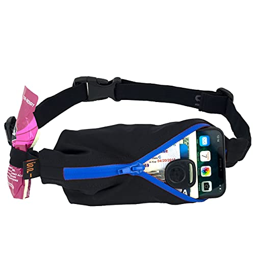SPIbelt Performance Series Running Belt - Large Pocket with Gel Loops (Black with Blue Zip) from SPIbelt