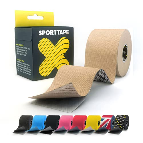 SPORTTAPE Extra Sticky Kinesiology Tape, 5cm x 5m - Beige - Hypoallergenic, Waterproof K Tape Physio Tape for Muscle Injury, Support from SPORTTAPE