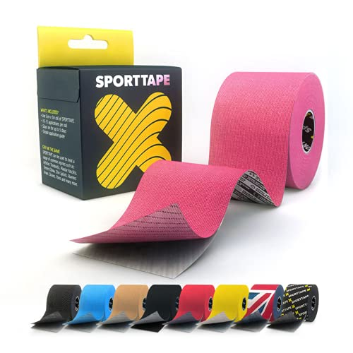 SPORTTAPE Extra Sticky Kinesiology Tape, 5cm x 5m - Pink - Hypoallergenic, Waterproof K Tape Physio Tape for Muscle Injury, Support from SPORTTAPE