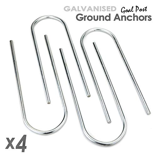 ST Metals Football Goal Pegs/Ground Anchors - Pack of 4 U-Shaped Pegs - Made from 8mm Diameter, Heavy Duty Galvanised Steel. Extra Long - 10.5-inch for Firmer Hold. Fits all Samba/Forza Goals from ST Metals