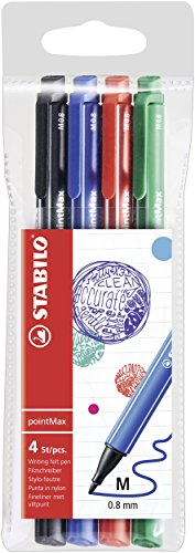Nylon Tip Writing Pen - STABILO pointMax Wallet of 4 Assorted Colours from STABILO