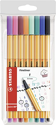 Fineliner - STABILO point 88 Wallet of 8 Assorted Colours from STABILO