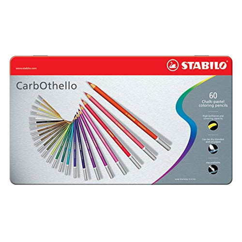 Premium Colouring Pencil - STABILO CarbOthello Pastel Pencil Metal box of 60 assorted colours, plus sharpener, kneaded eraser, blending stump from STABILO