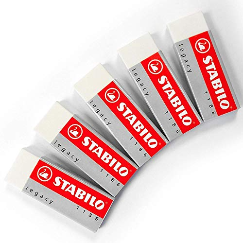STABILO Legacy Large White Eraser Plastic Rubber Erasers [Pack of 5 Erasers] from STABILO