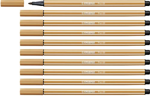 Premium Felt Tip Pen - STABILO Pen 68 Dark Ochre Box of 10 from STABILO