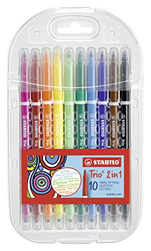 Felt Tip Pen - STABILO Trio 2 in 1 wallet of 10 assorted colours plastic from STABILO