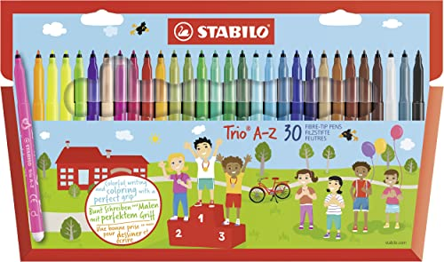 Felt Tip Pen - STABILO Trio A-Z wallet 25 assorted colours + 5 Neon Colours from STABILO