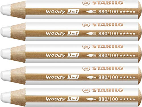 Multi-talented Pencil STABILO woody 3-in-1 box of 5 white from STABILO