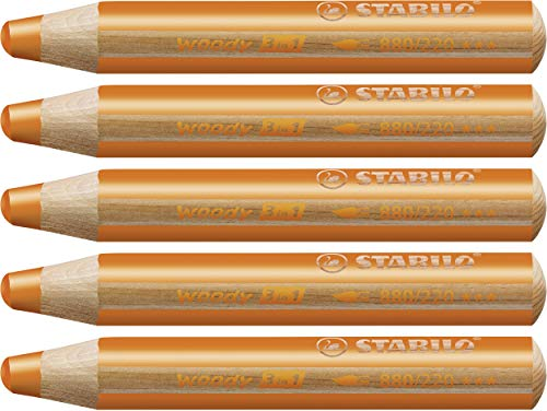 Multi-talented Pencil STABILO woody 3-in-1 box of 5 orange from STABILO
