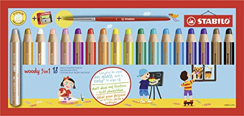 Multi-talented Pencil STABILO woody 3-in-1 box set of 18 assorted colours + sharpener & paint brush from STABILO