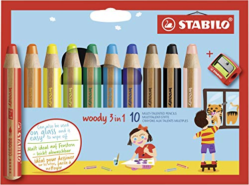 Multi-talented Pencil STABILO woody 3-in-1 wallet of 10 assorted colours + sharpener from STABILO