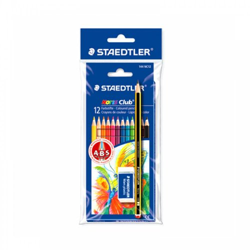 STAEDTLER 12 COLOURED PENCILS + EXTRA BONUS MARS ERASER & STEADLER HB PENCIL from STAEDTLER