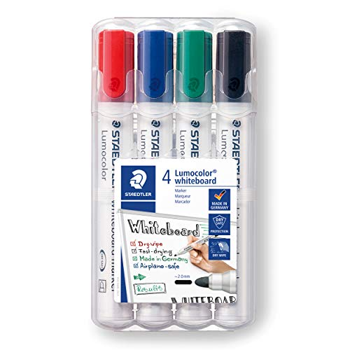 STAEDTLER 351 WP4 Lumocolour Whiteboard Marker with Bullet Tip, Multicolour, Pack of 4 from STAEDTLER
