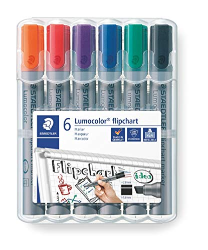 Staedtler flipchart Marker Lumocolor, Wedge Point Approx. 2 or 5 mm line Width, Set of 6 Colours, Ideal for flipchart Pads, Colour Intensive, Low Odour, high Quality Made in Germany, 356 B WP6 from STAEDTLER