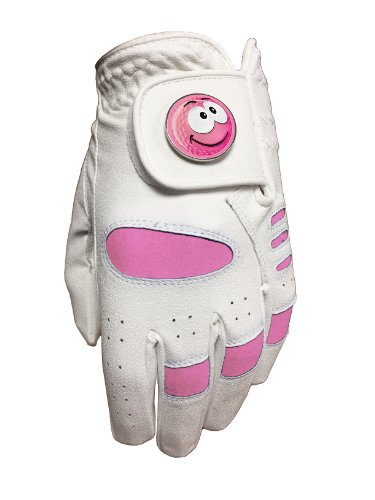 LADIES PINK GOLF GLOVE. SIZE MEDIUM. PINK SMILEY SMILE GOLF BALL MARKER. from STEVEPRICEGOLF