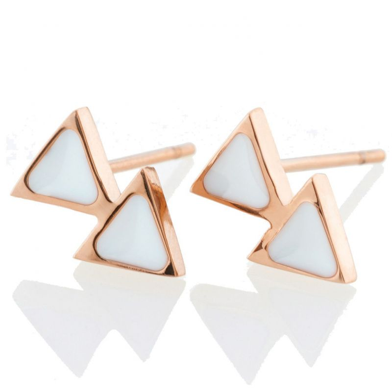 Ladies STORM Rose Gold Plated Enamelli Earrings from STORM Jewellery