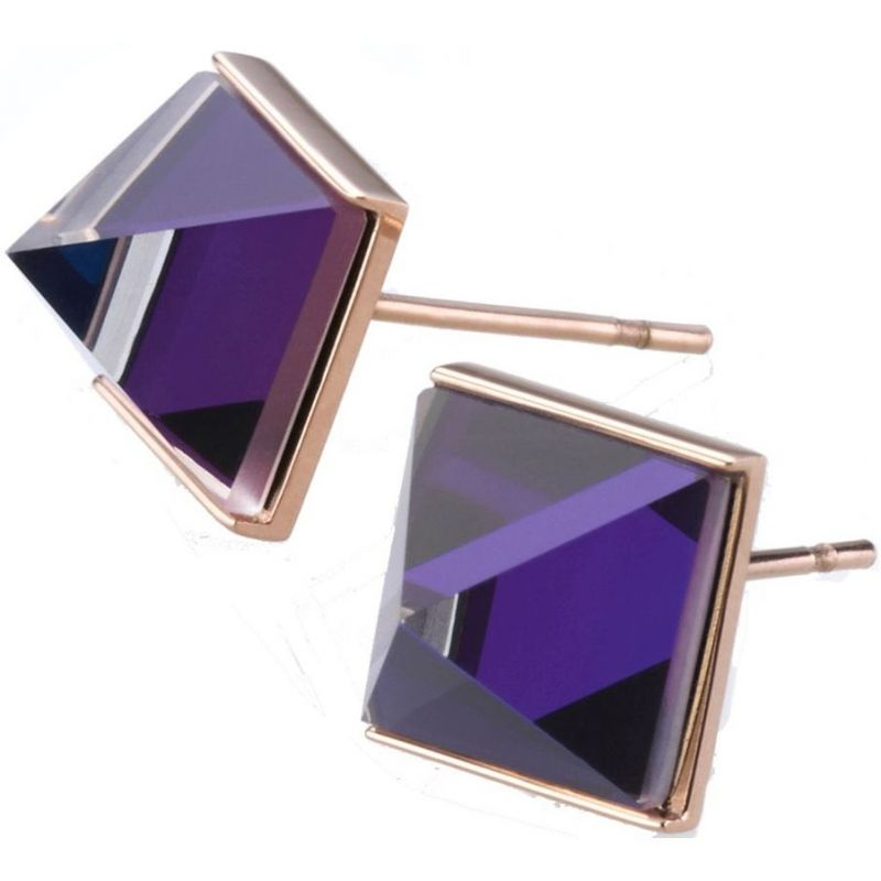 Ladies STORM Rose Gold Plated Gemza Purple Earrings from STORM Jewellery