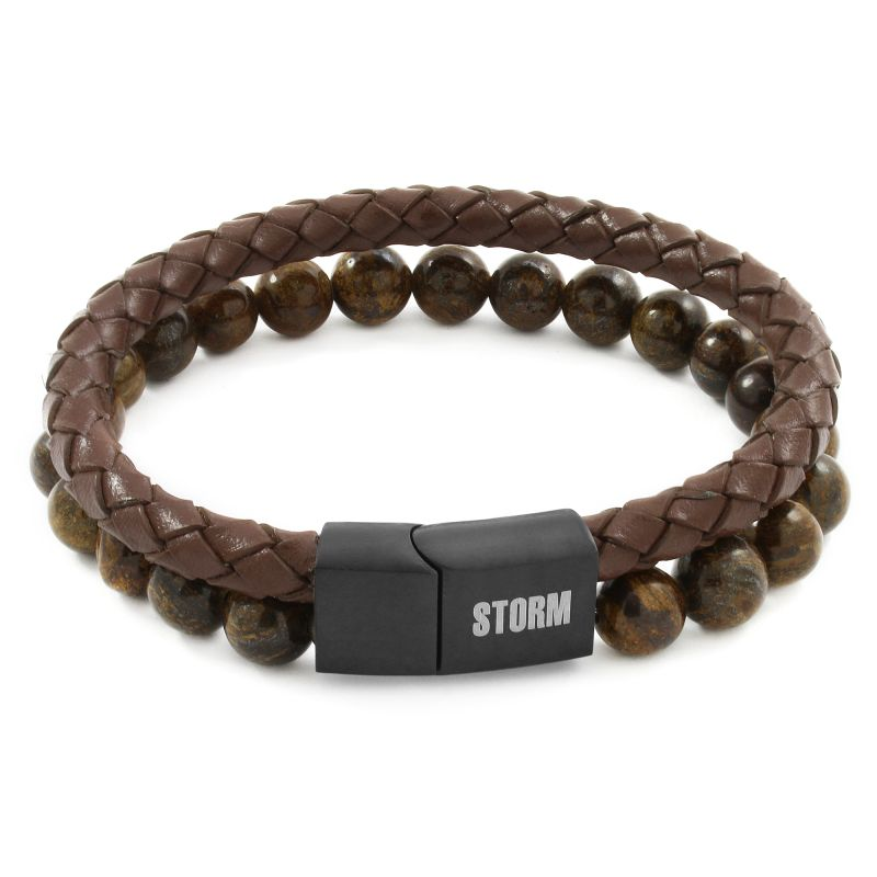 Mens STORM Black Ion-plated Steel Kahn Bracelet from STORM Jewellery