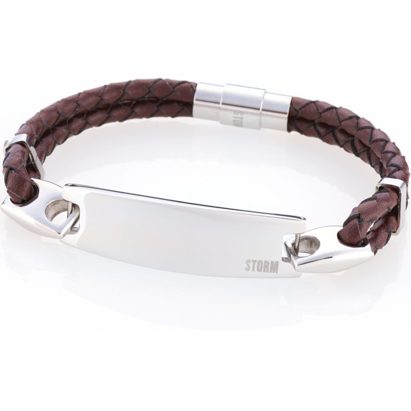 Mens STORM Stainless Steel Zeus ID Bracelet Brown from STORM Jewellery