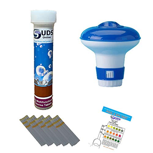 SUDS-ONLINE Small Dispenser with 10 Multifunctional Chlorine Tablets 20g + Test Strips from SUDS-ONLINE