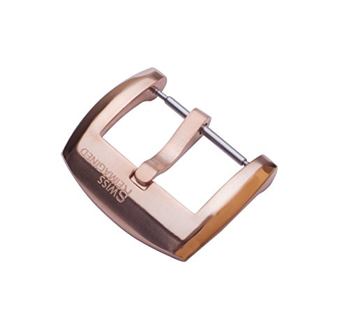 SWISS REIMAGINED Watch Band Stainless Steel Replacement Pin Buckle with Spring Bar - Brushed Rose Gold, 22mm from SWISS REIMAGINED