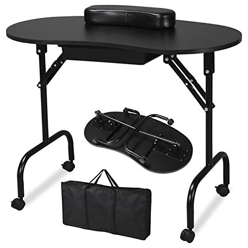 Yaheetech Foldable Portable Manicure Table Nail Technician Desk Workstation With Bag & Wrist Rest from Yaheetech