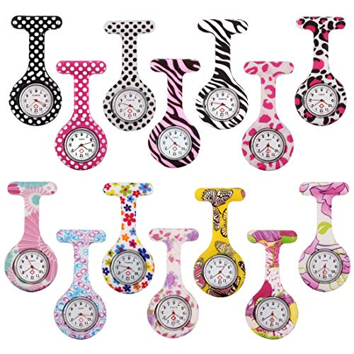 Woman's Girls' Fashion Floral Nurse Clip-on Fob Brooch Silicone Jelly Hanging Pocket Watch Pack of 14 from SZYUSAN