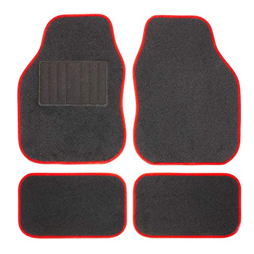Safe Travel 27652 Universal Car Mats, Left Hand Drive (LHD), Welded Heel, Red Binding from Safe Travel