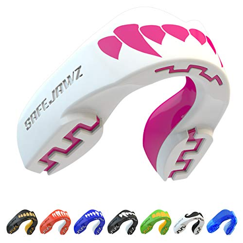 Safejawz Extro Series Mouth Guard for Rugby, Boxing, MMA, Hockey. 'Pink Fangz' Gum Shield from Safejawz