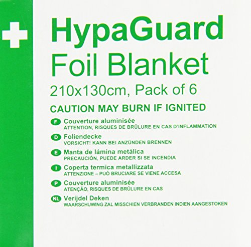 Safety First Aid Q2023T HypaGuard Disposable Foil Blankets, 210 x 130 cm, Set of 6 from Safety First Aid