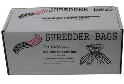Safewrap Shredder Bags, 200L Capacity | Pack of 50 | Durable, High-Density Polythene | Handy Dispenser Box from Safewrap