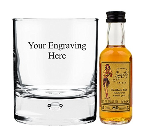 Personalised engraved 10oz Bubble in base glass with 5cl Miniature Sailor Jerry in Board gift box from Sailor Jerry