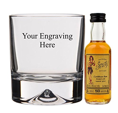 Personalised engraved 10oz Crystal old Fashioned glass with 5cl Miniature Sailor Jerry in Silk Lined gift box from Sailor Jerry