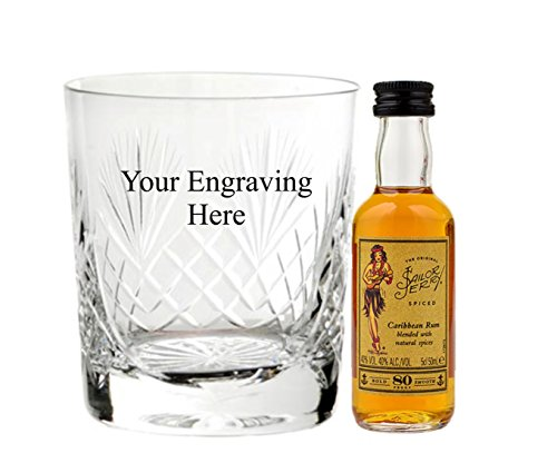 Personalised engraved 8oz Cut Crystal glass with 5cl Miniature Sailor Jerry in Board gift box from Sailor Jerry