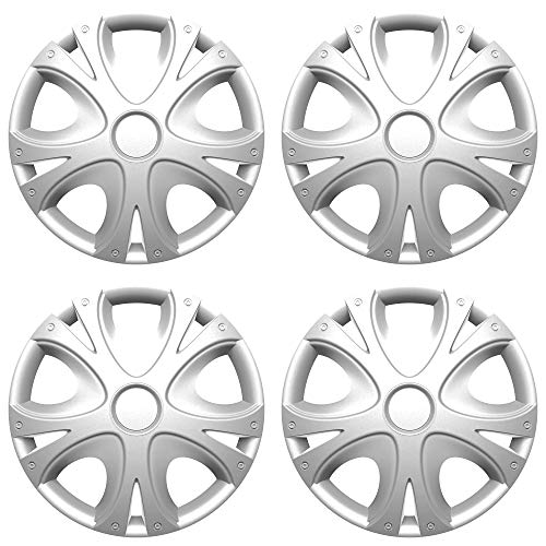 "Versaco Wheel Trims - 'Dynamic' Silver 15"" Inch Set Of 4 - Universal Fit For Cars And Other Vehicles from Versaco"