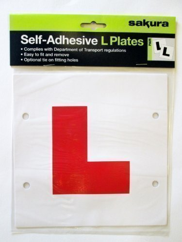 Self-Adhesive / Tie On Red Learner L Plates Pack of 2 from Sakura