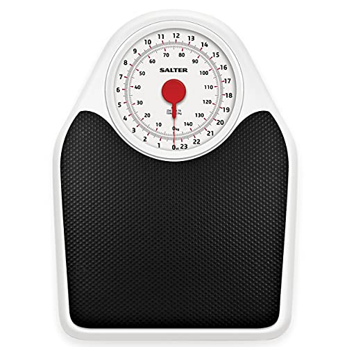 Salter Doctor Style Mechanical Bathroom Scales - Retro White + Black Accurate Weighing, Easy to Read Analogue Dial, Sturdy Metal Platform, Weigh in St lbs Kg, No Buttons or Batteries, Hassle Free from Salter